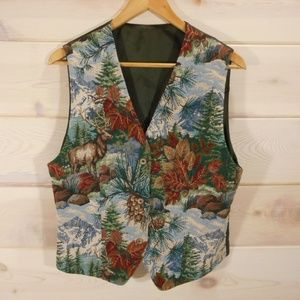 Vintage Women's Tapestry Vest Mountain Scenery